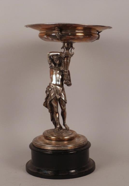 Egyptian Revival Silver Plated Tazza