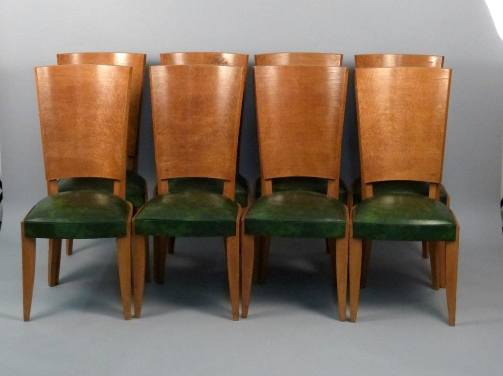 Set of Eight French Art Deco Dining Side Chairs