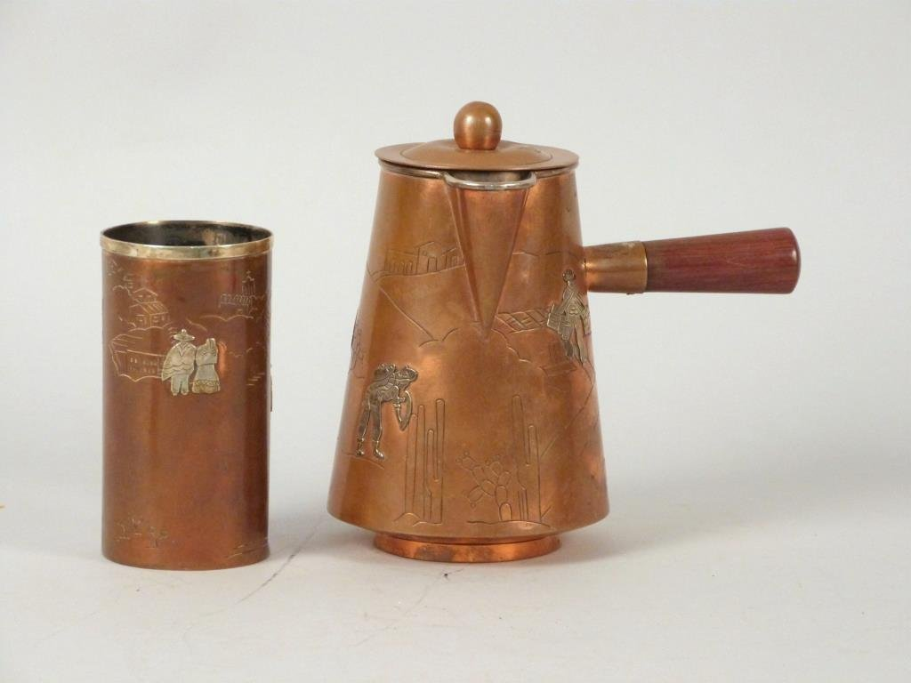 Two Mexican Silver and Copper Articles