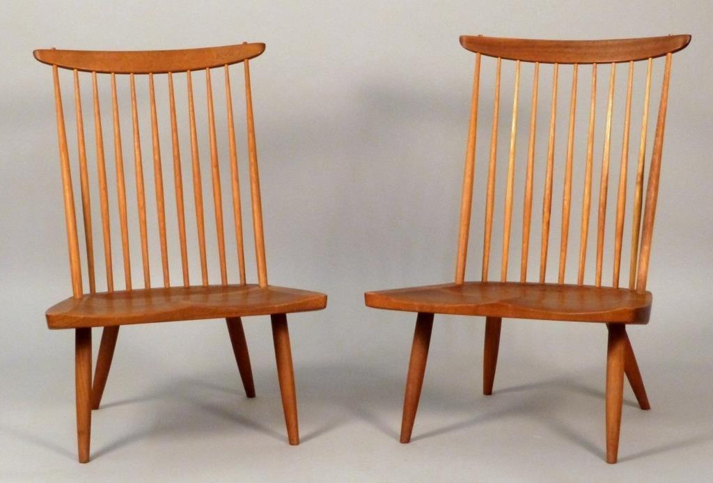 GEORGE NAKASHIMA (1905 - 1990), Pair Lounge Chairs **