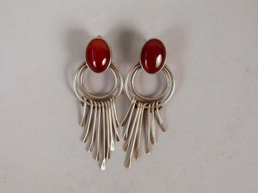Pair Sterling Silver Loop Earrings