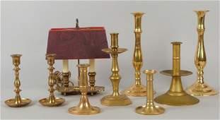 Assorted Brass and Brass Tone Candlesticks