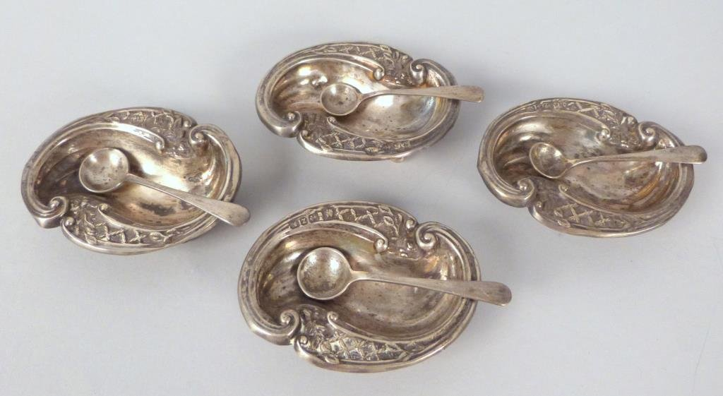 Set of 4 English Sterling Silver Salts and Spoons