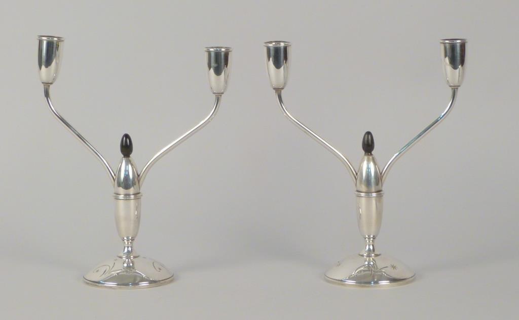 Pair Gorham Sterling Silver Art Deco Candelabras