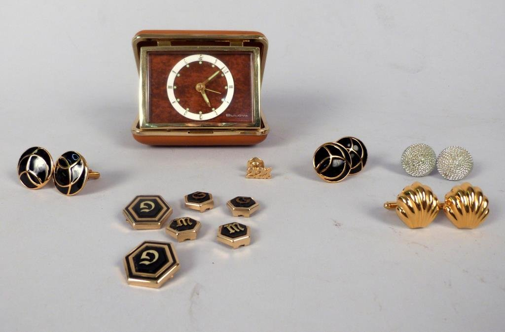 Bulova Travel Clock & Men's Cufflinks