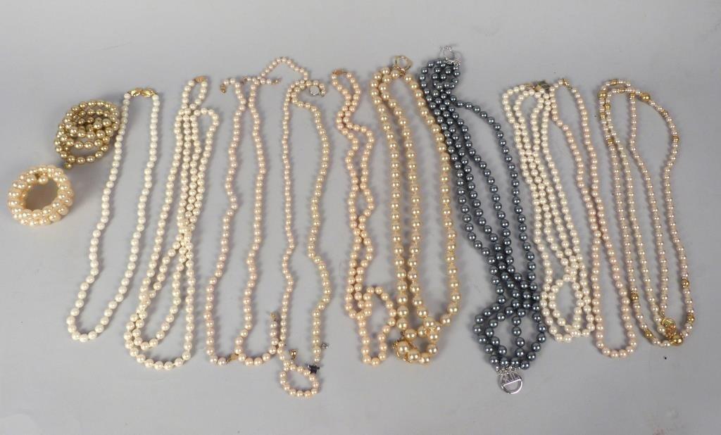 Vintage Faux Pearl Necklaces, Etc.