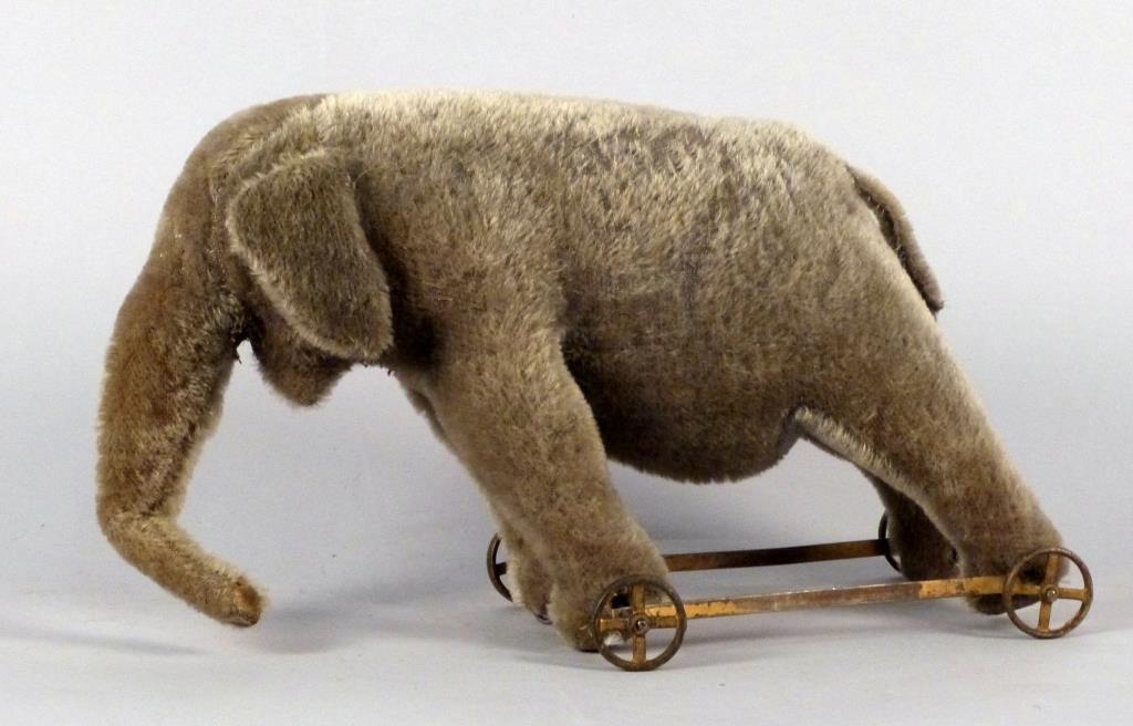 Stuffed Elephant Vintage Pull Toy on Wheels