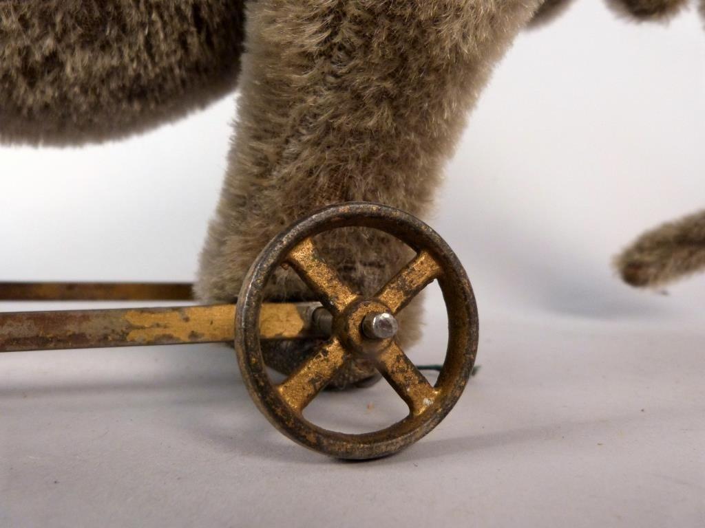 Stuffed Elephant Vintage Pull Toy on Wheels - 4