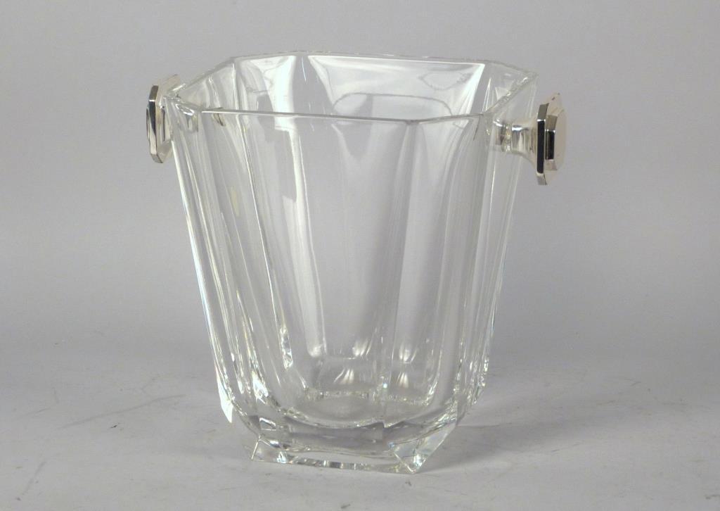 Chrome Mounted Large Glass Ice Bucket