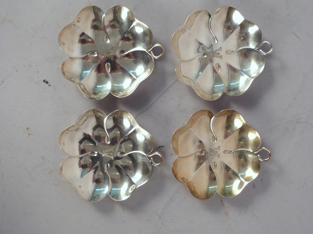 Set of 4 Tiffany & Co Sterling Silver Clover Bowls