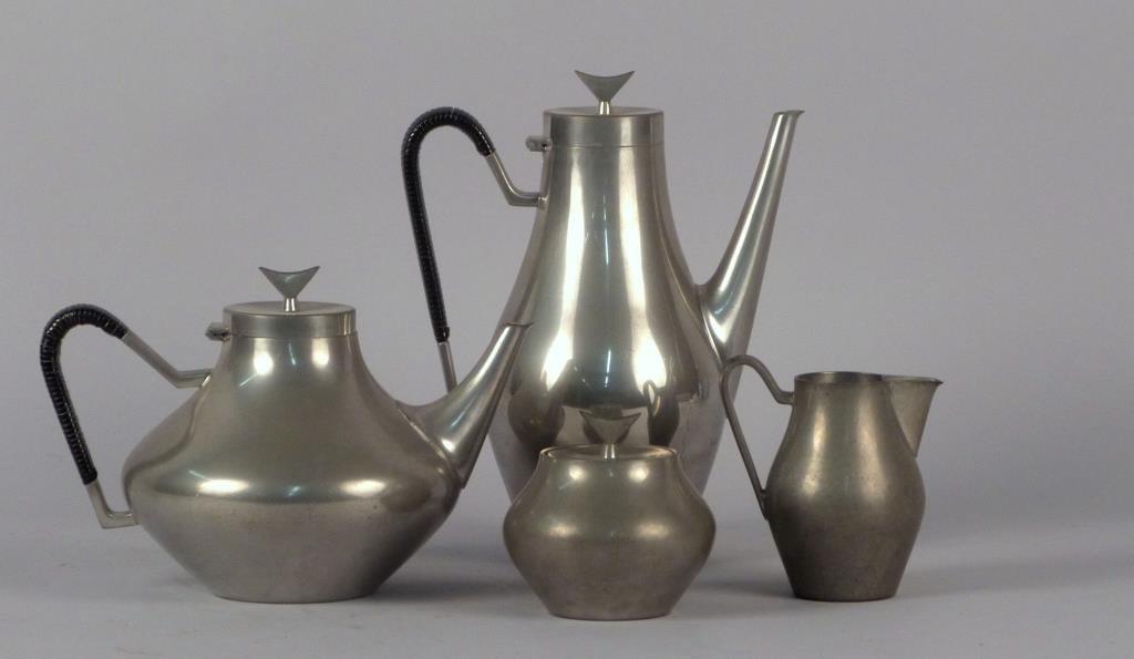 Reed & Barton Art Deco Pewter Coffee & Tea Service
