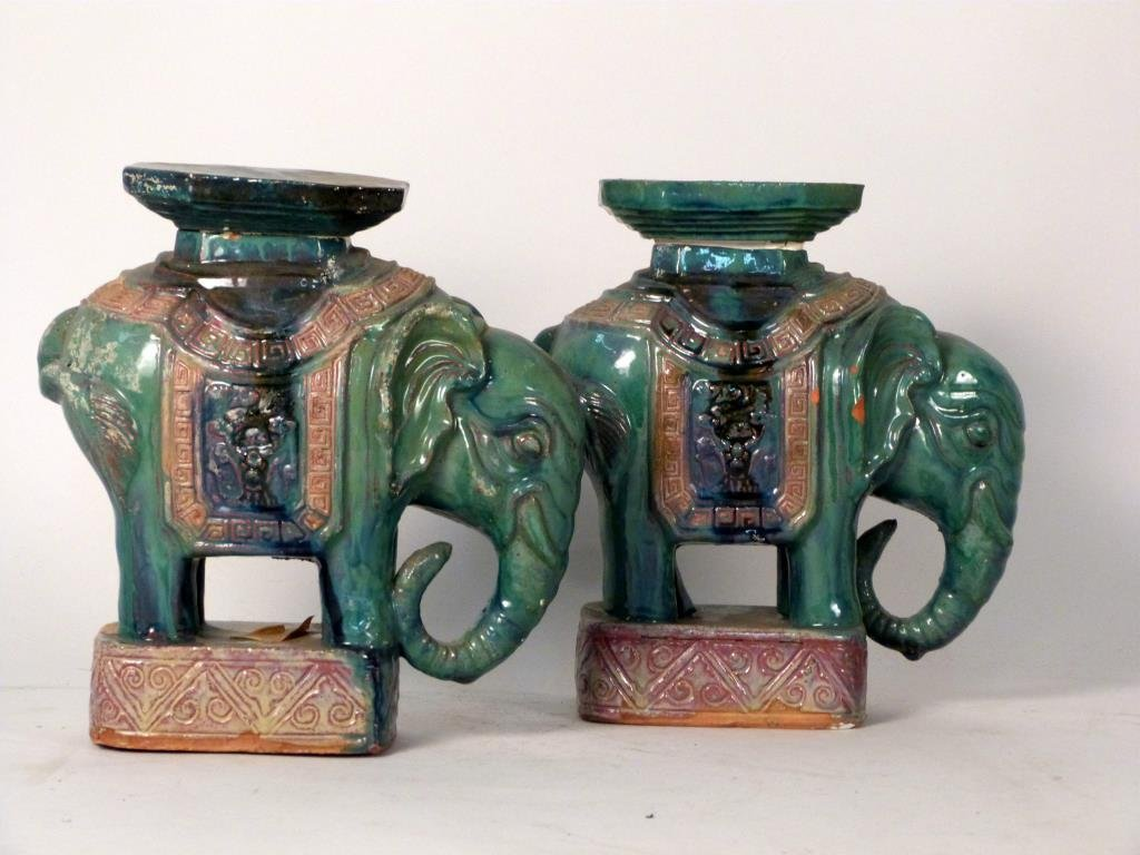 Pair of Asian Small Elephant Stands