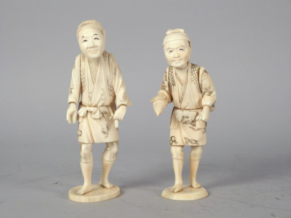 2 Carved Figural Asian Men