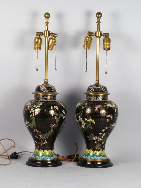 Pair Chinese Cloisonne Jars Mounted as Lamps
