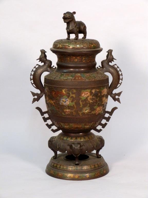 Large Japanese Cloisonne Covered Urn