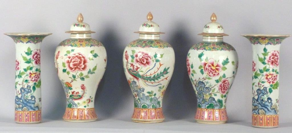 Chinese Famille Rose 5 Piece Garniture Set