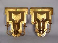 Pair Antique Italian Shield Back Sconces