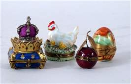 4 Limoges Hand Painted and Enamel Porcelain Boxes