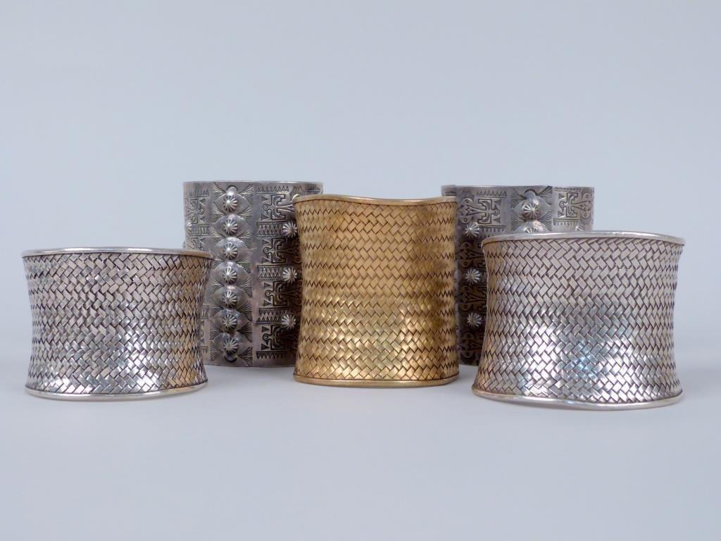 5 Silver Cuff Bracelets