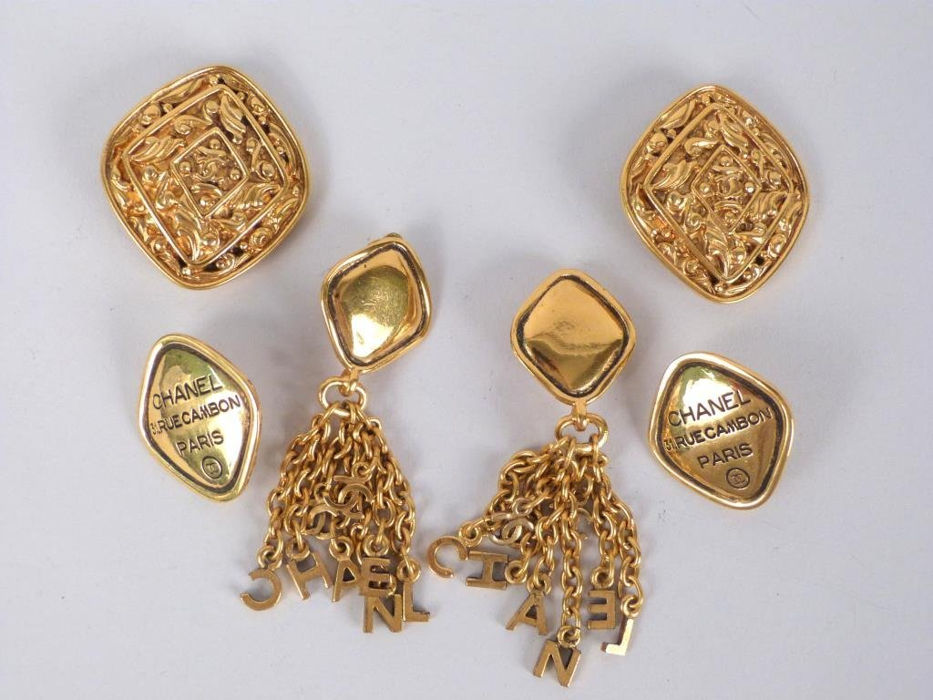 3 Pairs of Chanel Costume Gold Tone Earrings