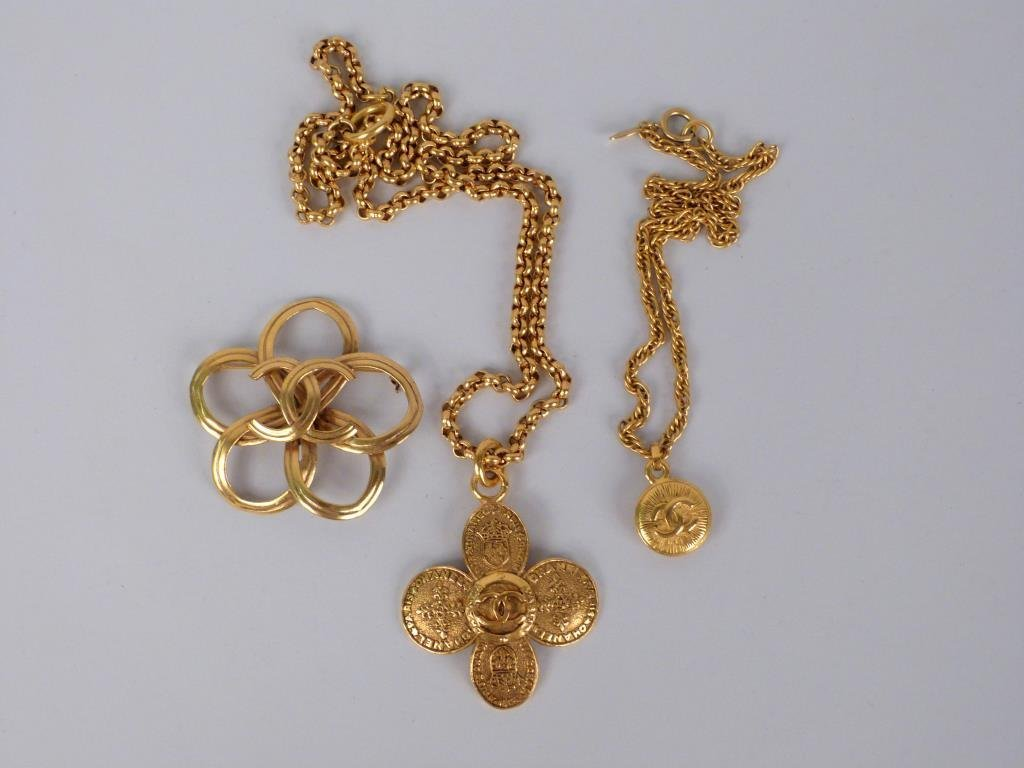 3 Articles of Chanel Costume Gold Tone Jewelry