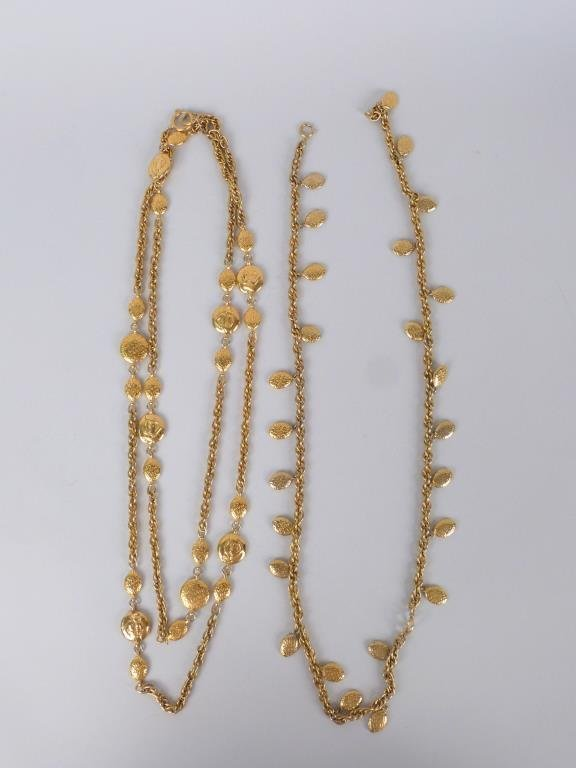2 Chanel Gold Tone Costume Necklaces