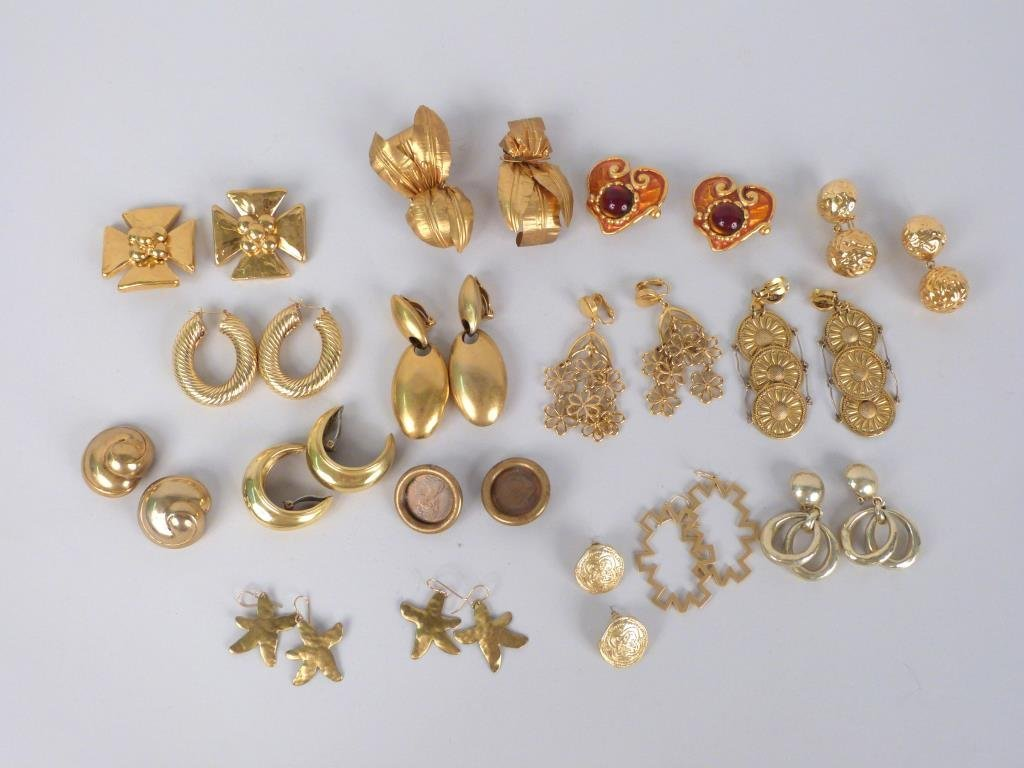 16 Pairs of Assorted Costume Gold Tone Earrings