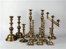 Assorted Brass & Brass Tone Candlesticks