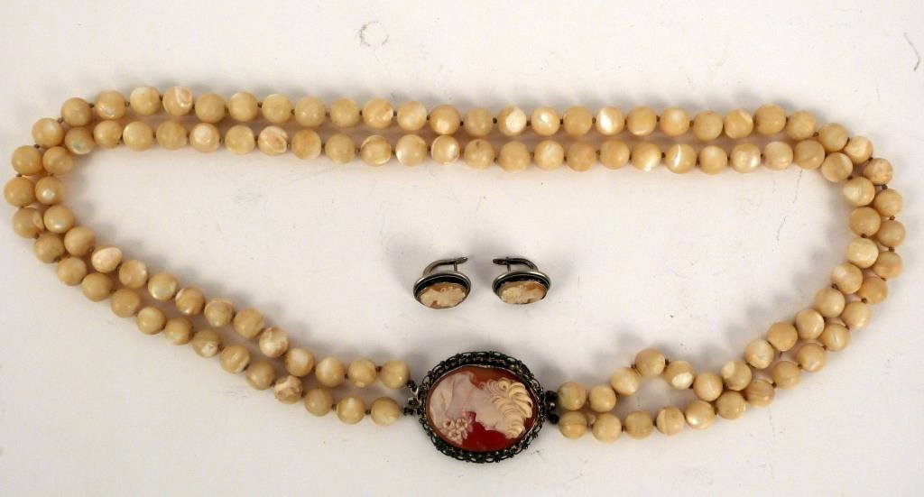 Victorian Cameo and Beaded Necklace Suite