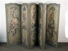 6 Panel Painted Floor Screen
