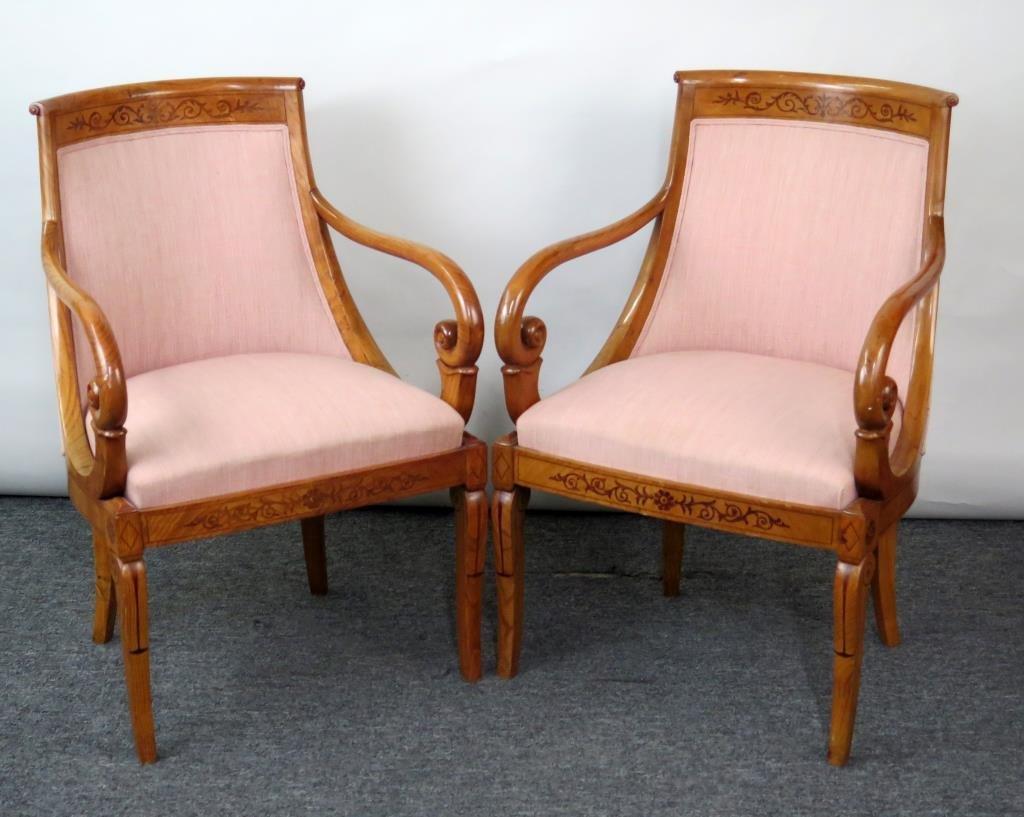 Pair Biedermeier Style Open Armchairs