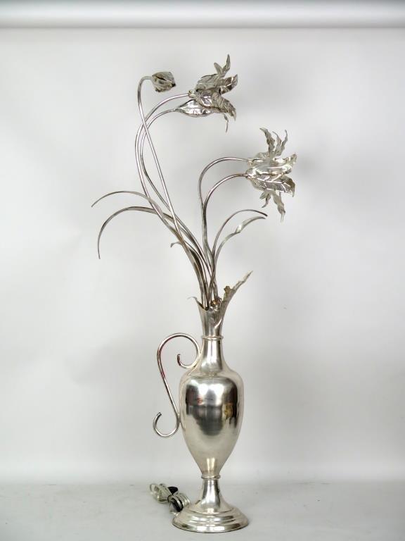 Silver Gilt Metal Sculptural Lamp