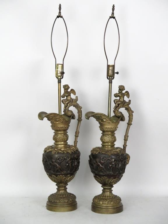 Pair of Bronze Neo-classical Style Lamps