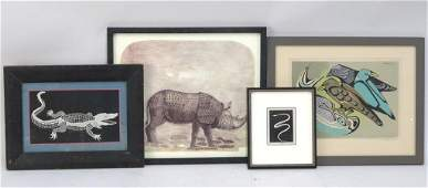 4 Framed Pictures of Animals