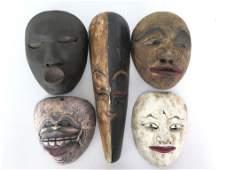 5 Carved Wood Javanese Masks