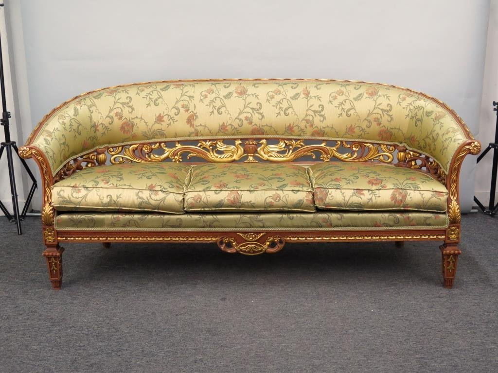 French Regency Style Gilt Carved Sofa