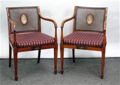 Pair Antique Adams Style Open Arm Chairs