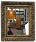 Antique Painted and Carved Wood Mirror