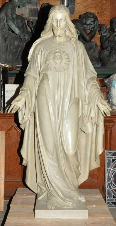 ITALIAN MARBLE STATUE OF THE SACRED HEART OF JESUS