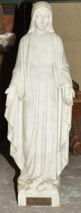 Italian Solid Marble Statue Of Mary