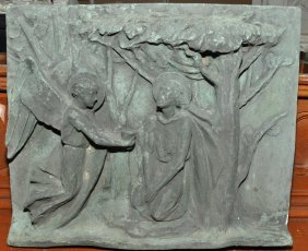 Italian Bronze Plaque Of Jesus