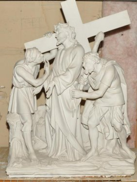 Large Heavy Clay Cast Station Scene Of Jesus