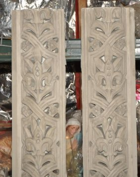 Pair Antique Carved Marble Altar Columns