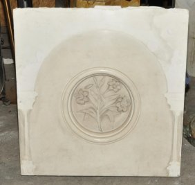 Antique Italian Marble Panel Carved Lily