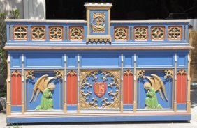 Outstanding Painted Pugin Style Gothic Altar