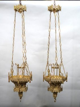 Pair Gothic Style Brass Sanctuary Lamps