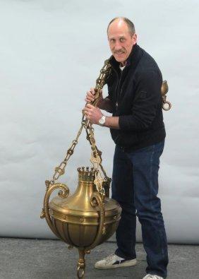 Heavy Brass Lantern Form Gothic Style Fixture