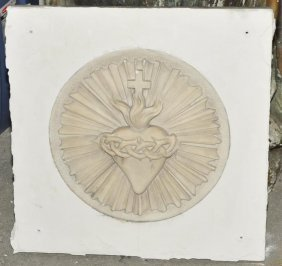 Antique Marble Gothic Sacred Heart Panel