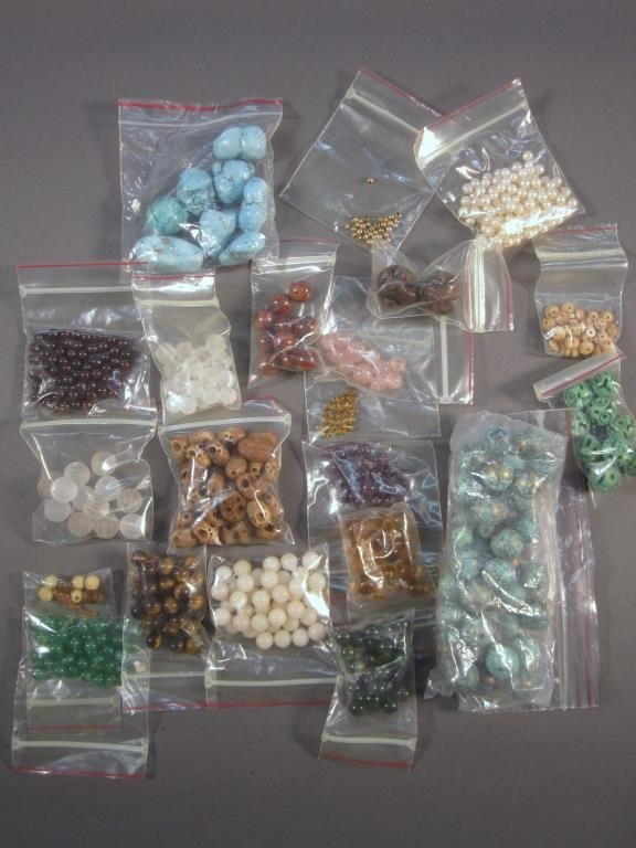 Assorted Bags of Costume, Stones, and Beads
