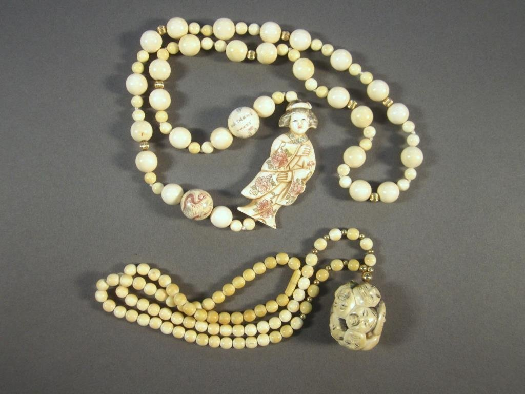 2 Chinese Carved Bone Necklaces